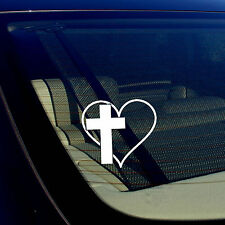 CROSS HEART Vinyl Decal Sticker Car Window Wall Bumper Jesus God Heart Love 3.7""