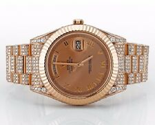 Unworn Pink Gold Rolex Day-Date II 218235 Watch Iced Out 15.56 Carats Diamonds