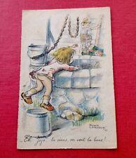 Carte Postale ILLUSTRATEUR. Roger LEVASSEUR. Fillette. 1944. Puits. Seau. Lune.