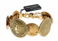 NEW $800 DOLCE & GABBANA Bracelet Gold Brass MONETE SICILY Coin Bangle Cuff