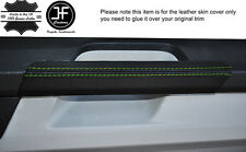 GREEN STITCH 2X DOOR HANDLE TRIM LEATHER COVERS FITS VW T6 TRANSPORTER 15-17