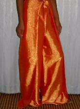 Thai Silk Fishermans Drive in Pants  / Jacquard Weave / Orange / FREE SIZE