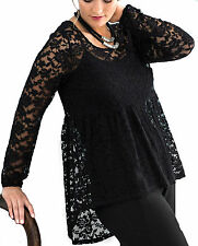 Ladies UK Size 8 - 18 Black or Ivory Lace Top