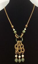 Vintage Signed MIRIAM HASKELL Filigree Green Jasper Bead Dangle Necklace-w/ Tag