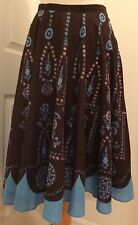 John Paul Richard Uniform Petites Flare Gypsy Skirt 100% Cotton Brown 12 Nice!!!