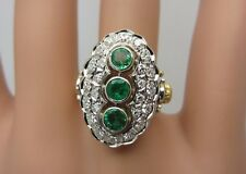 Vintage Antique Style 18k yellow gold and 14k white gold Emerald Diamond Ring
