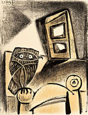 Hibou a la chaise fond ocre  A1+ by Pablo Picasso High Quality Canvas Print