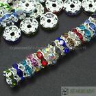Mixed 100 Czech Crystal Rhinestone Silver Wavy Rondelle Spacer Beads 4mm 5mm 6mm