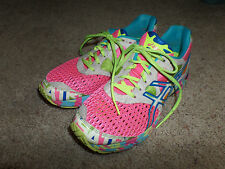 Asics gel-Noosa Tri 7 Neon Confetti Print with Pink Mesh Shoes Size 9.5 M