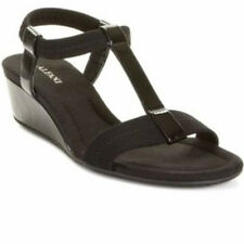 Alfani Voyage Womens Black Open Toe Strappy Wedge Sandals Shoes 7 M NEW NIB $40