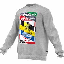 NEW ADIDAS ORIGINALS MEN'S LABELS CREW SWEATSHIRT FLEECE LONG SLEEVE SHIRT 2XL