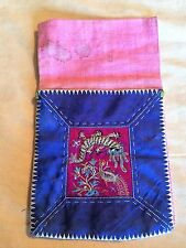 ANTIQUE CHINESE QING EMBROIDERED SILK ROBE POUCH PURSE FLYING DRAGON