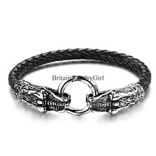 Men Women Stainless Steel Dragon Head Black Leather Cuff Bracelet Jewelry 8.26""