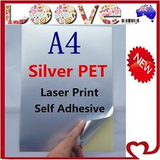 5x A4 Glossy Silver PET Self Adhesive Vinyl Sticker Paper Label Laser Print