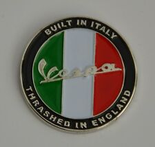 Vespa Built in Italy Thrashed in England Quality Enamel  Pin Badge