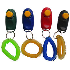 Portabble Dog Pet Click Training Obedience Trainer Clicker Aid Wrist Straps