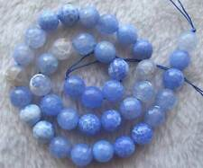 10mm Blue Agate Faceted Round Beads 15""