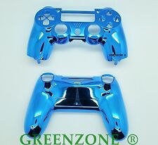 Blue Chrome Custom Replacement PS4 Controller Hydro Dipped Shell Mod Kit