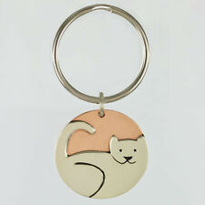 Far Fetched Kitty Cat KEYCHAIN Silver & Copper  Mima Oly Key Ring Tag