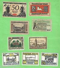 #D178.   NINE POST WWI GERMAN HYPERINFLATION PERIOD NOTGELD GERMAN BANKNOTES