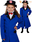 Girls Victorian Nanny Fancy Dress Costume ChildMary Poppins Outfit Book Week Day