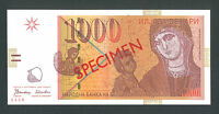 MACEDONIA   1000 Denari 1996 UNC  P18s   SPECIMEN   with all zeroes serial numbe