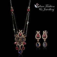 18K Rose Gold Plated Simulated Crystal & CZ Vintage Teardrop Set Jewellery