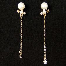 Tiny Moon Star Pearl Long Chain Asymmetrical Lovely Sweet Drop Dangle Earrings