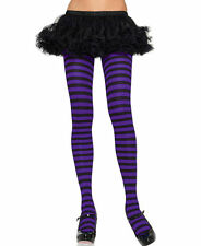 BLACK AND PURPLE STRIPE TIGHTS One Size TIGHTS COSTUME FANCY DRESS FAST POST