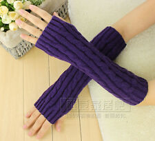 Women Girl Knitted Long Fingerless Gloves Winter Wrist Arm Hand Warmer Mittens
