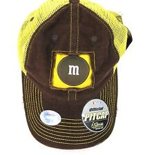 Elliott Sadler #38 M&M's Nascar Snapback Yellow Mesh Brown Corduroy Hat RYR New