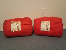 Vtg Retro Mod 70's Coleman USA red canvas paisley flannel lined sleeping bags~X2