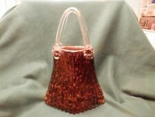Vintage Murano Glass Leopard Purse Vase  basket  Hand Blown Clear Handles  14""
