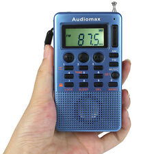 Blue Pocket FM AM Radio Receiver MP3 Player USB Speaker Alarm Clock Sleep Timer