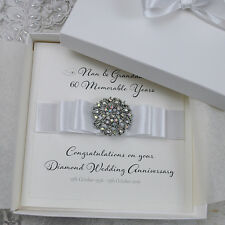 Luxury Diamond 60th Wedding Anniversary Personalised Handmade Boxed Card