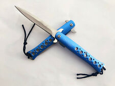HQ Assisted Opening Blue Folding Pocket Knife With Pouch Hunting Camping Fishing