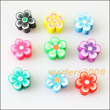 25 New Charm Handmade Polymer Fimo Clay Star Flower Flat Spacer Beads Mixed 10mm