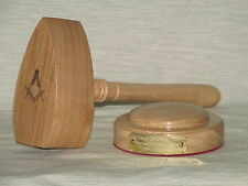 MASONIC WOODEN GAVEL & BLOCK IN OAK WOOD COMMON GAVEL ANY MESSAGE NAME ENGRAVED