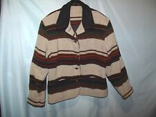 Multi-Color Striped Wool Blend Basic Coat Women's Size M  Leather Collar