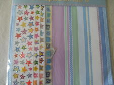Scrapbook Paper Kit 12 Papers, sticker sheet + Die-Cut shapes & letters
