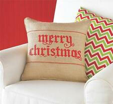 "Mud Pie Merry Christmas Burlap 15"" Decorative Throw Pillow Wrap Holiday Set New"