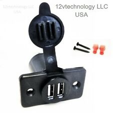 Dual USB Charger Socket 12 Volt   Plug Jack Panel  Mount  Boat Car Truck RV Auto