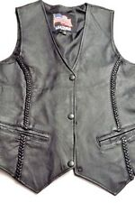 Womens Leather Vest Biker Motorcycle Black Braided Trim Small
