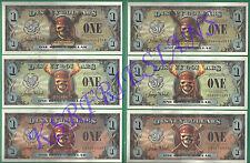 2007 Pirate Disney Dollars $1 * WDW & DL *6 Piece Set* EB EF EE & FB FF FE *Mint