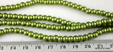 GR016 Matte green round glass pearl beads - 28g x 200pce - 5mm