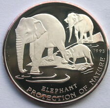 Cambodia 1993 Elephant 20 Riels Silver Coin,Proof