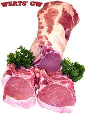 "Four 10 oz Rib Cut Pork Chops-1.25"" Thick Chop-Nebraska Processed-Certified Pork"