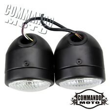 Black Dual Round Streetfighter Naked Bike Headlights Twin Headlamp With Holder