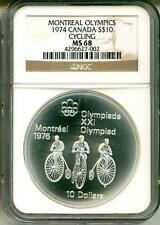 1974 S$10 Canada Montreal Olympics Cycling NGC MS68