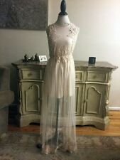 NWOT FOREVER 21 SHEER TULLE MAXI DRESS EMBROIDERED NUDE MODAL SIZE  SMALL
